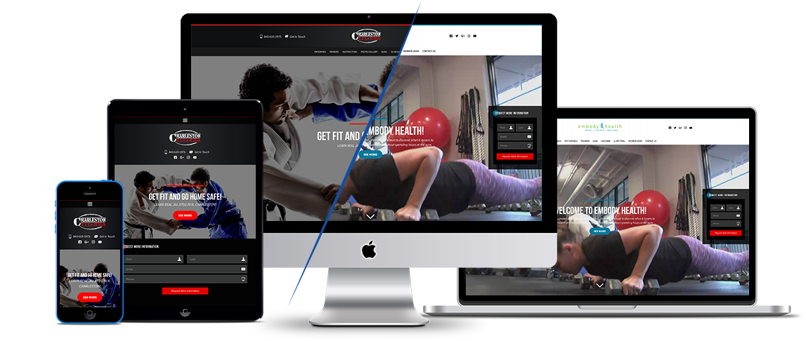 An example of a fitness website build by 97 Display